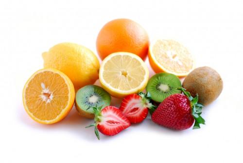 Assorted fruit on white background